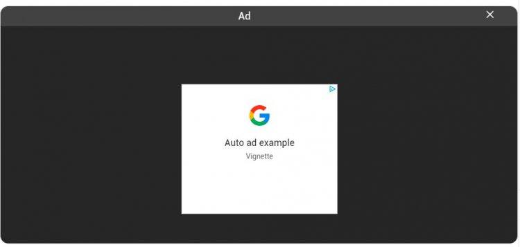 Vignette Ads pe Desktop din 3 Noiembrie
